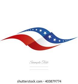 Abstract US flag ribbon logo white background