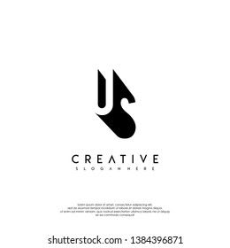abstract US logo letter in shadow shape design concept