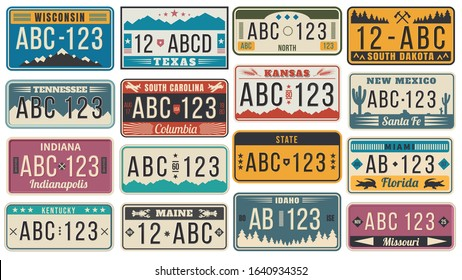 Abstract USA states license plates. Colorful retro car license, number plate templates vector set. Bundle of various vehicle registration signs or automobile identifiers in elegant vintage style