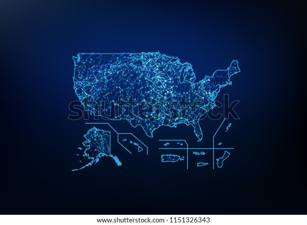 Abstract Usa Territories Map Network Internet Stock Vector ...