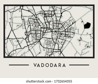 Abstract Vadodara City Map - Illustration as EPS 10 File