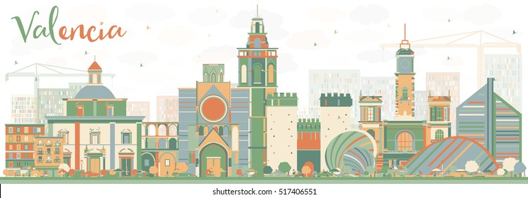 Abstract Valencia Skyline with Color Buildings. Vector Illustration. Business Travel and Tourism Concept with Historic Architecture. Image for Presentation Banner Placard and Web Site.