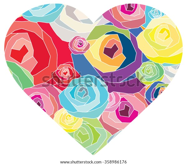 Abstract valentine composition colorful flower of the heart. Vector illustration graphic