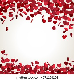 Abstract Valentines Day background with falling hearts, vector illustration