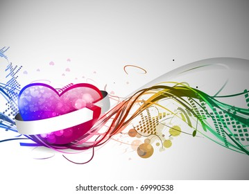 Abstract valentines day colorful heart design element background.