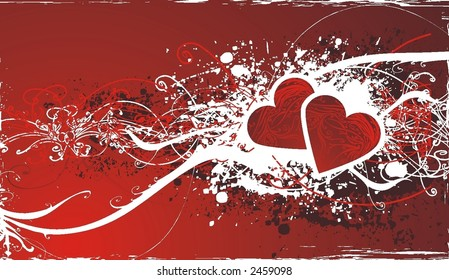 abstract valentines day design ,vector illustration ,floral elements & grunge frame