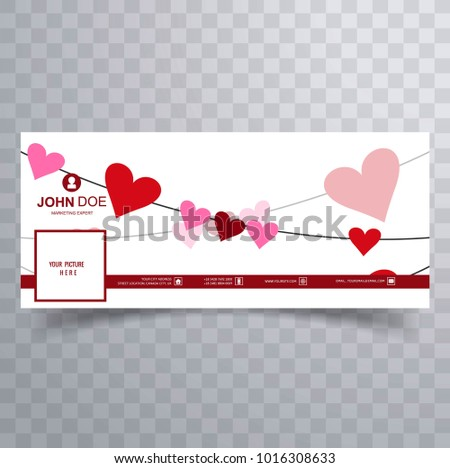 Abstract Valentines Day Facebook Cover Design Stock Vector Royalty