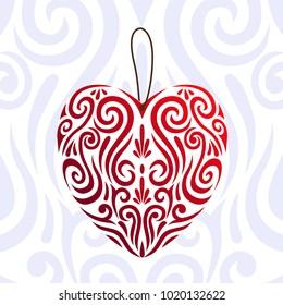 Abstract Valentines day red love heart icon, stylised Maori koru tattoo