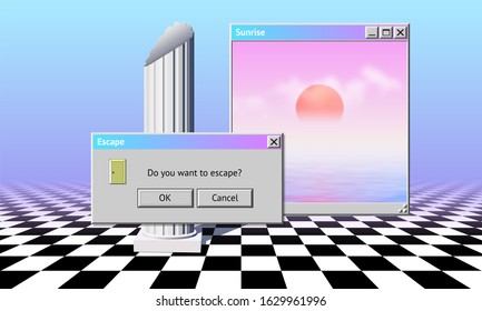 Abstract vaporwave aesthetics background with 90s style system message windows, column and checkered floor covered with pink and blue gradient mist