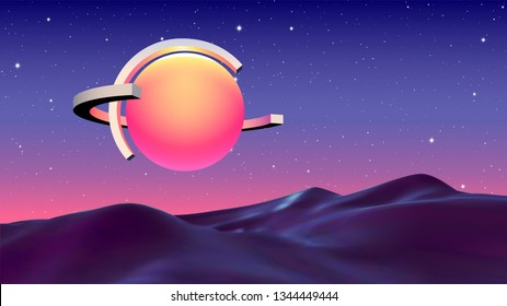 Abstract vaporwave background with sun or light ball and orbits flying over mountain landscape on sci-fi planet