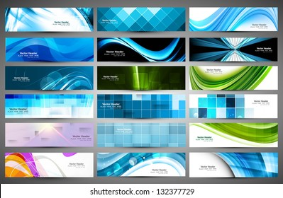 abstract Various 18 colorful header set collection vector