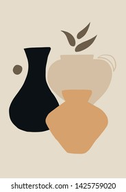 Abstract Vase Poster. Vector Modern Neutral Print.