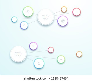 Abstract Vector 3d Horizontal Mind Map Infographic