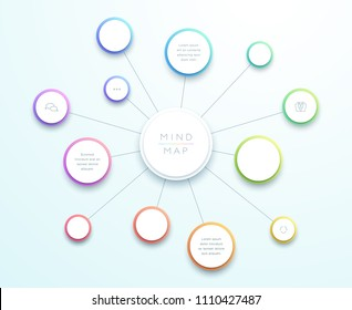 Abstract Vector 3d Large Mind Map Infographic