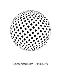 Abstract vector 3d sphere. Black and white vector illustration.