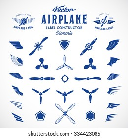 Abstract Vector Airplane Labels or Logos Construction Elements. Isolated.