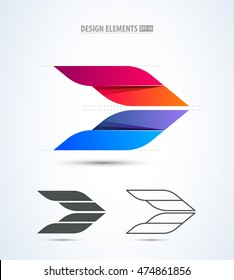 Abstract vector airplane logo icon design elements. Airport identity stile.