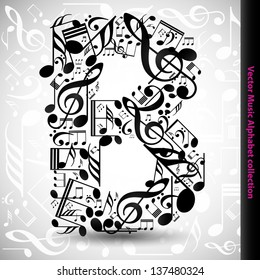 Abstract vector alphabet - B made from music notes - alphabet set