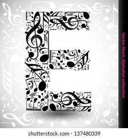 Abstract vector alphabet - E made from music notes - alphabet set