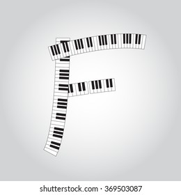 Abstract vector alphabet -  F  made from  piano - alphabet set