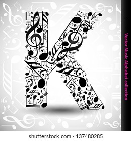 Abstract vector alphabet - K made from music notes - alphabet set