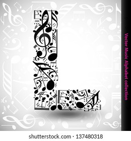 Abstract vector alphabet - L made from music notes - alphabet set