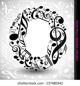 Abstract vector alphabet - O made from music notes - alphabet set