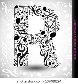 Abstract vector alphabet - R made from music notes - alphabet set