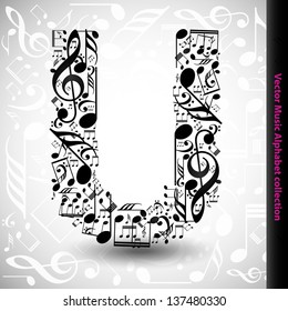 Abstract vector alphabet - U made from music notes - alphabet set