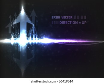 Abstract vector up arrow design with reflection on dark background colored blue. Has bright lights and blurry particles.