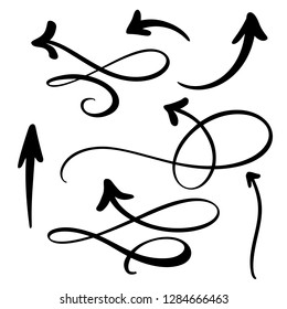 Abstract Vector Arrows set. Doodle hand made marker style. Isolated Sketch illustration for note, business plan, graphic presentation