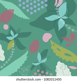 Abstract vector art background of composition texture with flowers and creative artistic naive style, colorful elements and shapes for your design, presentation, package, poster, decoration.