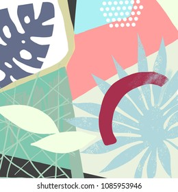 Abstract vector art background of composition texture and creative artistic naive style, colorful elements and shapes for your design, presentation, package, poster, decoration.