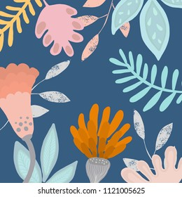 Abstract vector art background of composition texture and creative artistic naive style, bright summer elements and shape for your design, presentation, package, poster, decoration.
