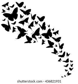 Abstract vector backdrop with butterflies design. Free butterflies in black color and flow of insect butterflies illustration