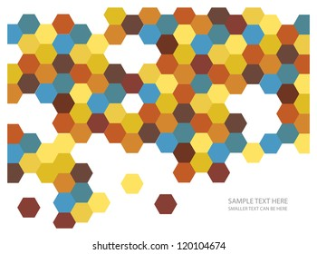 abstract vector backdrop design with colorful hexagonal honey combs and place for your text isolated on white background