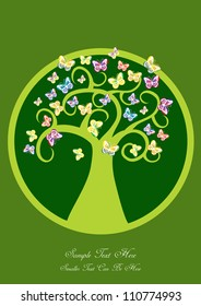 abstract vector backdrop design with tree silhouette in green, colorful butterflies and place for your text