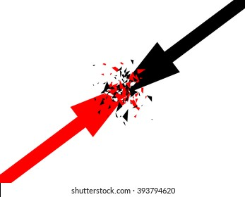 Abstract vector background with arrows. Two opposite forces clashing. Confrontation concept vector design