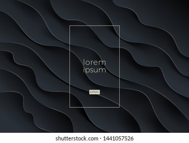Abstract vector background. Black fluid wavy layered shape. Design for cover, poster, landing page, presentation and other promo design.