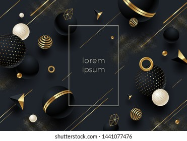 Abstract vector background. Black geometric shape with golden elements and decor on black background with golden halftone.