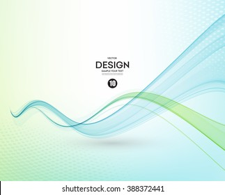 Abstract vector background, blue and green transparent waved lines for brochure, website, flyer design.  Blue green smoke wave. Transparent wave