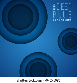 Abstract vector background with blue layered paper cut 3d holes. Deep blue dark banner, geometric brochure layer illustration