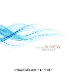 Abstract vector background, blue transparent waved lines for brochure, website, flyer design.  Blue smoke wave. Blue wavy background,