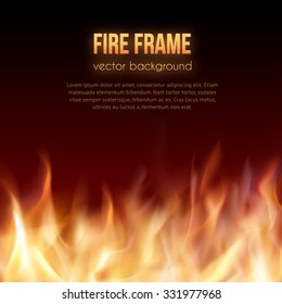Abstract vector background with burning fire flames frame and copy-space for text in top. Fiery banner design template