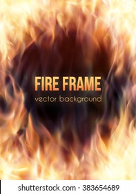 Abstract vector background with burning fire flames frame and copy-space for text in center. Fiery banner template