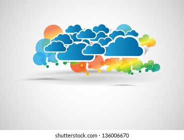abstract vector background with colorful circles and clouds