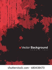Abstract vector background with colorful red ink splashes on black background in grunge style with place for text.