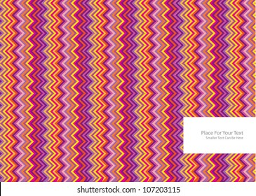 abstract vector background with colorful symmetrical zig zag stripes and frame for your text