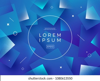 Abstract vector background. Composition with square shapes and round frame for text or message.