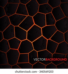 Abstract vector background with cracked ground and lava. Eps 10